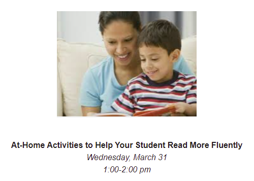 March 31:  At-Home Activities to Help Your Student Read More Fluently